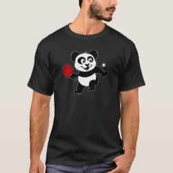Men's Basic Dark T-Shirt with Cute Table Tennis Panda design