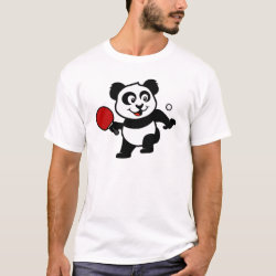 Men's Basic T-Shirt with Cute Table Tennis Panda design
