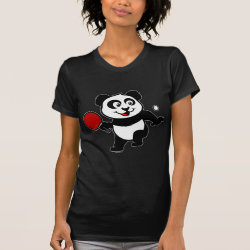 Women's American Apparel Fine Jersey Short Sleeve T-Shirt with Cute Table Tennis Panda design