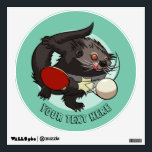 """Table Tennis Ping Pong Binturong Cartoon With Text Wall Decal<br><div class=""""desc"""">A dynamic decal for your wall, featuring a bushy haired, ping pong binturong with an explosive forehand. Edit the text to personalize your decal. A great custom gift for a table tennis player. Customize it to change the default minty green background. A binturong is a largely tree dwelling mammal native...</div>"""