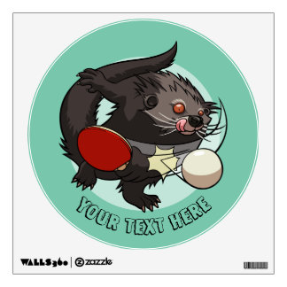 Table Tennis Ping Pong Binturong Cartoon With Text Wall Decal