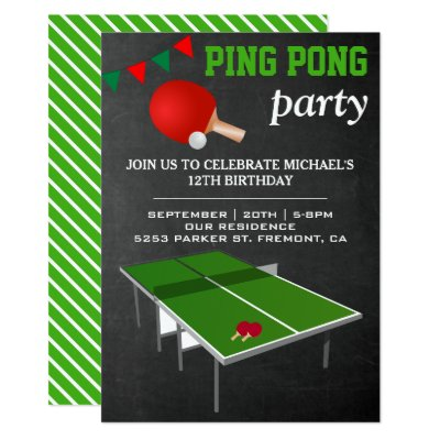 Birthday Ping Pong Party Invitation Zazzle Com