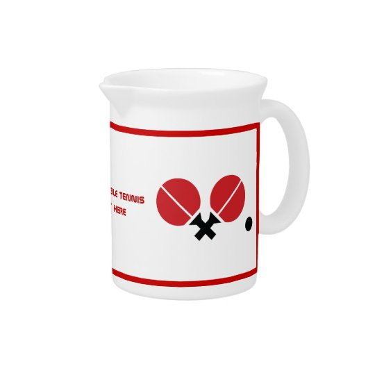 Table tennis ping-pong rackets and ball black, red beverage pitchers