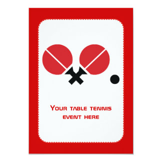 Table tennis ping-pong rackets and ball black, red personalized announcements