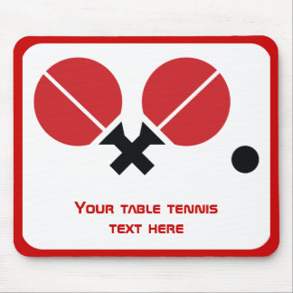 Table tennis ping-pong rackets and ball black, red mouse pad