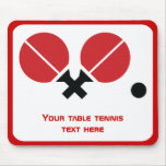 Table tennis ping-pong rackets and ball black, red mousepads