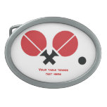 Table tennis ping-pong rackets and ball black, red oval belt buckles