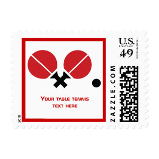 Table tennis ping-pong rackets and ball black, red postage stamp