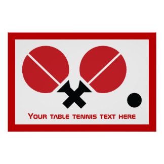 Table tennis ping-pong rackets and ball black, red poster