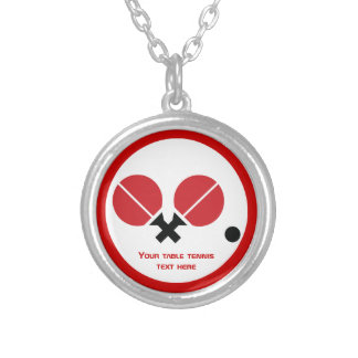 Table tennis ping-pong rackets and ball black, red silver plated necklace