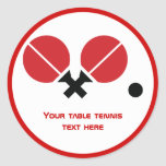 Table tennis ping-pong rackets and ball black, red classic round sticker