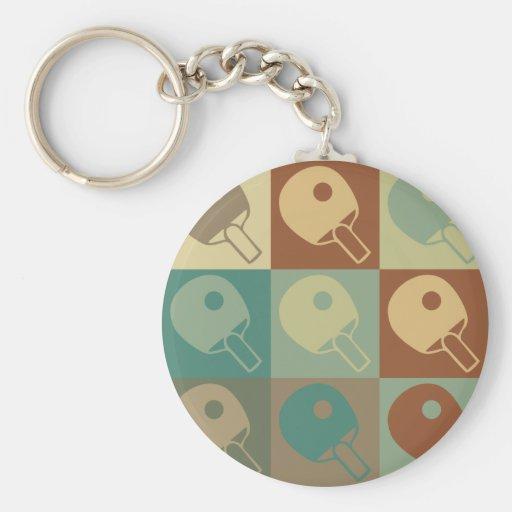Table Tennis Pop Art Basic Round Button Keychain
