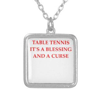 table tennis square pendant necklace