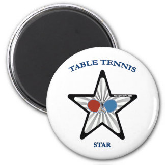 Table Tennis Star 2 Inch Round Magnet