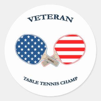 Table Tennis Veteran Classic Round Sticker