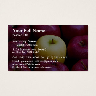 Table top of nine apples, yellow and red business card