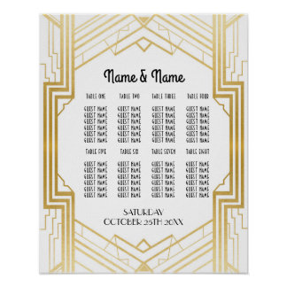 Table Wedding Gatsby Art Deco 1920s Poster Seating