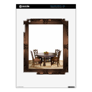 Table with chairs in a frame design decal for iPad 2