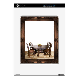 Table with chairs in a frame design decals for iPad