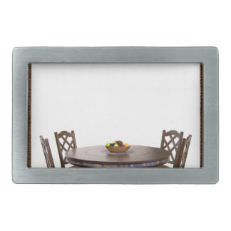 Table with chairs in a frame design rectangular belt buckle