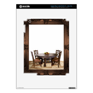 Table with chairs in a frame design skins for iPad 3