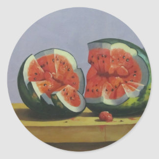 table with fruits classic round sticker