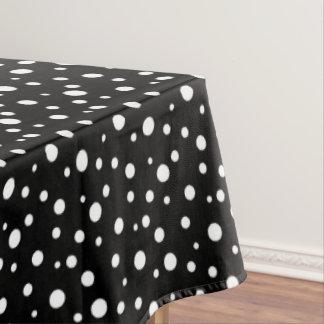 "Tablecloth ""60x84"" Black & White Polka Dots"
