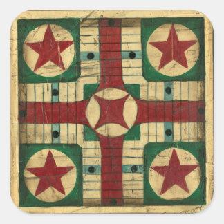 Tablero antiguo del juego de Parcheesi de Ethan Colcomanias Cuadradas Personalizadas