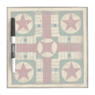 Tablero antiguo del juego de Parcheesi de Ethan Pizarras Blancas