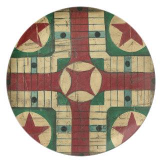 Tablero antiguo del juego de Parcheesi de Ethan Platos De Comidas
