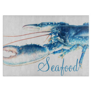Tablero azul del corte del vidrio de los mariscos tabla para cortar