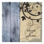 Tablero azul del granero de la invitación del boda