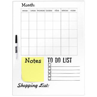 Tablero blanco de Orgnized - calendario, hacer, no