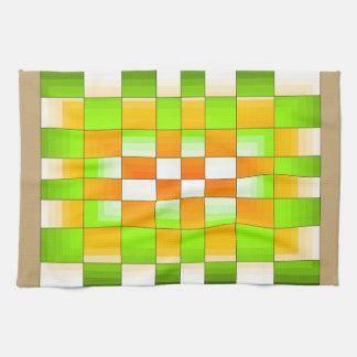 Tablero de ajedrez amarillo y verde de la ilusión toallas de cocina