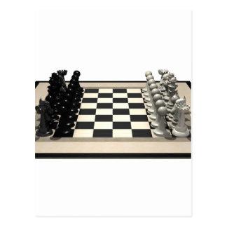 Tablero de ajedrez con los pedazos de ajedrez: postales