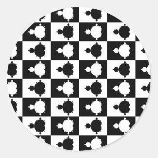 Tablero de ajedrez de Mandelbrot Pegatinas Redondas