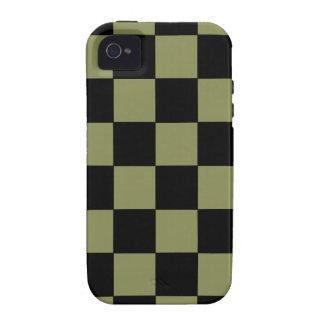 Tablero de ajedrez del tablero de damas del verde iPhone 4 carcasas