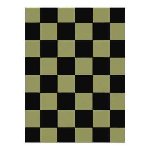 """Tablero de ajedrez del tablero de damas del verde invitación 5.5"""" x 7.5"""""""