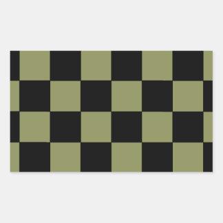 Tablero de ajedrez del tablero de damas del verde pegatina rectangular