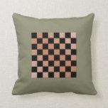 Tablero de ajedrez francés del gris 6a del verde c cojines