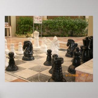 Tablero de ajedrez gigante póster
