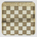 Tablero de ajedrez pegatina cuadrada