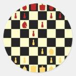 Tablero de ajedrez pegatina redonda