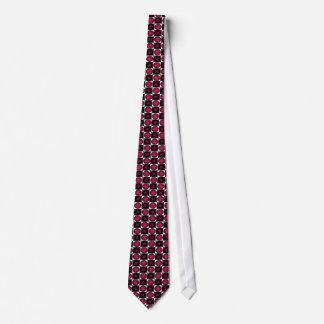 Tablero de ajedrez rojo de la ilusión óptica 4 corbata personalizada