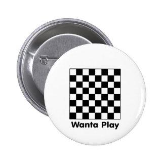 Tablero de ajedrez Wanta B&W los regalos de Zazzle Pin