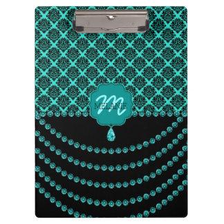 TABLERO de CLIP cristalino del monograma del damas