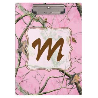 Tablero de clip rosado de la inicial del monograma
