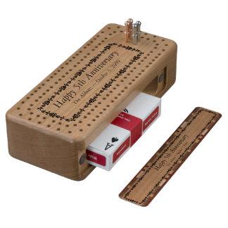Tablero de Cribbage de madera del 5to aniversario