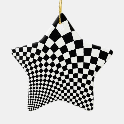 Tablero de damas abstracto blanco y negro punky adorno de cerámica en forma de estrella