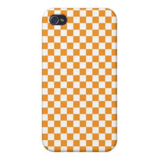 Tablero de damas anaranjado y blanco iPhone 4 fundas